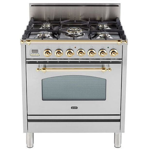"ILVE 30"" Nostalgie Series Freestanding Gas Range with 5 Burners 3 cu. ft. Oven Capacity Digital Clock and Timer Full Width Warming Drawer 2 Oven Racks and Brass Trim: Stainless Steel (UPN76DVGGI) - Shop For Kitchens"