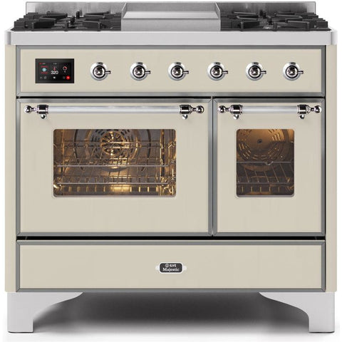 "Image of ILVE 40"" Majestic II Series Dual Fuel Natural Gas Range with 6 Sealed Burners and Griddle 3.82 cu. ft. Total Oven Capacity TFT Oven Control Display Chrome Trim in Antique White (UMD10FDNS3AWC) - Shop For Kitchens"