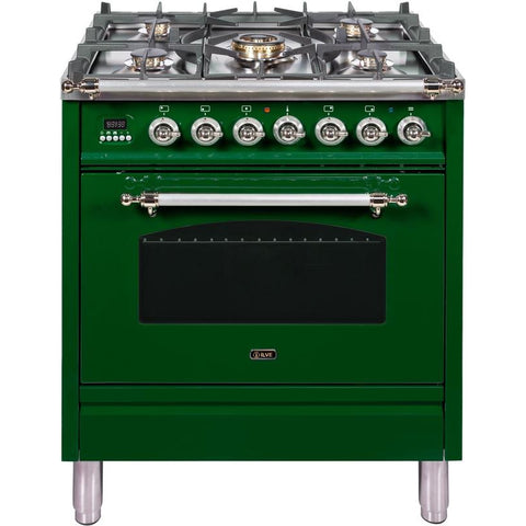 "Image of ILVE 30"" Nostalgie Series Dual Fuel Natural Gas Range with 5 Sealed Burners 3 cu. ft. Capacity True Convection Oven with Chrome Trim in Emerald Green (UPN76DMPVSX) - Shop For Kitchens"