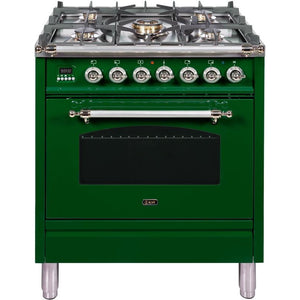 "ILVE 30"" Nostalgie Series Dual Fuel Natural Gas Range with 5 Sealed Burners 3 cu. ft. Capacity True Convection Oven with Chrome Trim in Emerald Green (UPN76DMPVSX) - Shop For Kitchens"