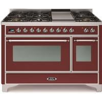 "ILVE 48"" Majestic II Dual Fuel Range with 8 Burners and Chrome Trim in Burgundy (UM12FDNS3BUC) - Shop For Kitchens"