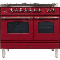 "Image of ILVE 40"" Nostalgie Series Dual Fuel Natural Gas Range with 5 Sealed Brass Burners 3.55 cu. ft. Total Capacity True Convection Oven Griddle with Bronze Trim in Burgundy (UPDN100FDMPRBY) - Shop For Kitchens"