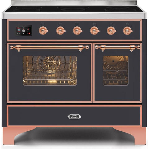 "Image of ILVE 40"" Majestic II Series Induction Range with 6 Elements 3.82 cu. ft. Total Oven Capacity TFT Oven Control Display Copper Trim in Matte Graphite (UMDI10NS3MGP) - Shop For Kitchens"