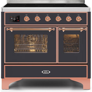 "ILVE 40"" Majestic II Series Induction Range with 6 Elements 3.82 cu. ft. Total Oven Capacity TFT Oven Control Display Copper Trim in Matte Graphite (UMDI10NS3MGP) - Shop For Kitchens"