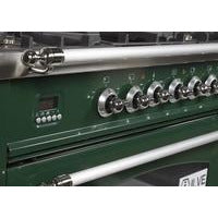 "ILVE 36"" Nostalgie Series Dual Fuel Natural Gas Range with 5 Sealed Brass Burners 3 cu. ft. Capacity True Convection Oven with Chrome Trim in Emerald Green (UPN90FDMPVSX) - Shop For Kitchens"
