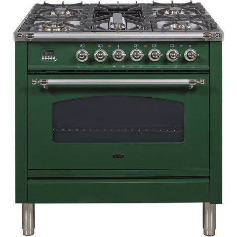 "Image of ILVE 36"" Nostalgie Series Dual Fuel Natural Gas Range with 5 Sealed Brass Burners 3 cu. ft. Capacity True Convection Oven with Chrome Trim in Emerald Green (UPN90FDMPVSX) - Shop For Kitchens"