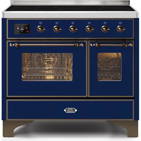 "Image of ILVE 40"" Majestic II Series Induction Range with 6 Elements 3.82 cu. ft. Total Oven Capacity TFT Oven Control Display Bronze Trim in Midnight Blue (UMDI10NS3MBB) - Shop For Kitchens"