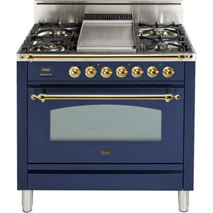 "ILVE 36"" Nostalgie Series Gas Range with 5 Burners Griddle 3.5 cu. ft. Oven Capacity Dishwarming Drawer Digital Clock and Timer Rotisserie  Brass Trim in Midnight Blue (UPN90FDVGGBL) - Shop For Kitchens"