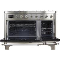 "ILVE 48"" Majestic II Dual Fuel Liquid Propane Range with 8 Burners and Chrome Trim in Stainless Steel (UM12FDNS3SSCLP) - Shop For Kitchens"