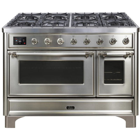 "Image of ILVE 48"" Majestic II Dual Fuel Liquid Propane Range with 8 Burners and Chrome Trim in Stainless Steel (UM12FDNS3SSCLP) - Shop For Kitchens"