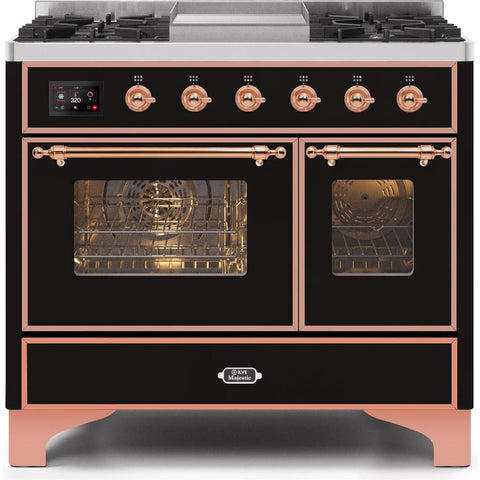 "Image of ILVE 40"" Majestic II Series Dual Fuel Liquid Propane Range with 6 Sealed Burners and Griddle 3.82 cu. ft. Total Oven Capacity TFT Oven Control Display Copper Trim in Glossy Black (UMD10FDNS3BKPLP) - Shop For Kitchens"
