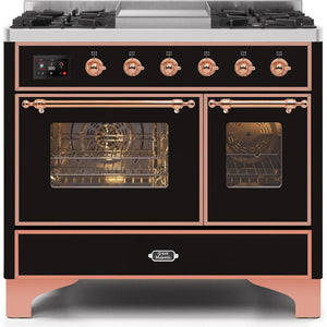 "ILVE 40"" Majestic II Series Dual Fuel Liquid Propane Range with 6 Sealed Burners and Griddle 3.82 cu. ft. Total Oven Capacity TFT Oven Control Display Copper Trim in Glossy Black (UMD10FDNS3BKPLP) - Shop For Kitchens"