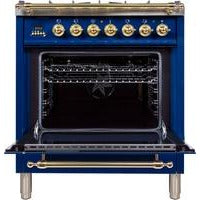 "ILVE 30"" Nostalgie Series Dual Fuel Liquid Propane Range with 5 Sealed Burners 3 cu. ft. Capacity True Convection Oven with Brass Trim in Blue (UPN76DMPBLLP) - Shop For Kitchens"