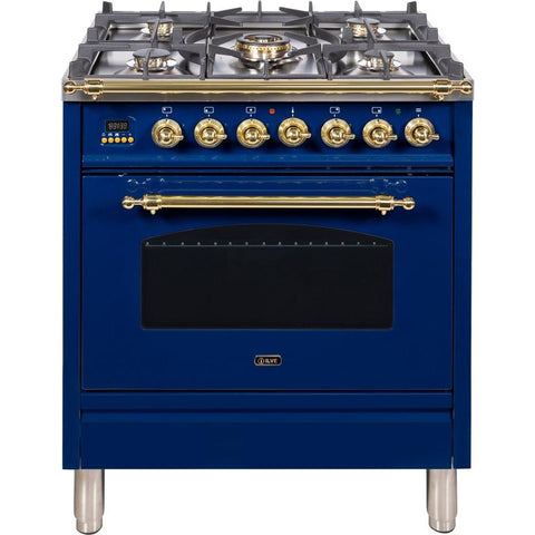 "Image of ILVE 30"" Nostalgie Series Dual Fuel Liquid Propane Range with 5 Sealed Burners 3 cu. ft. Capacity True Convection Oven with Brass Trim in Blue (UPN76DMPBLLP) - Shop For Kitchens"