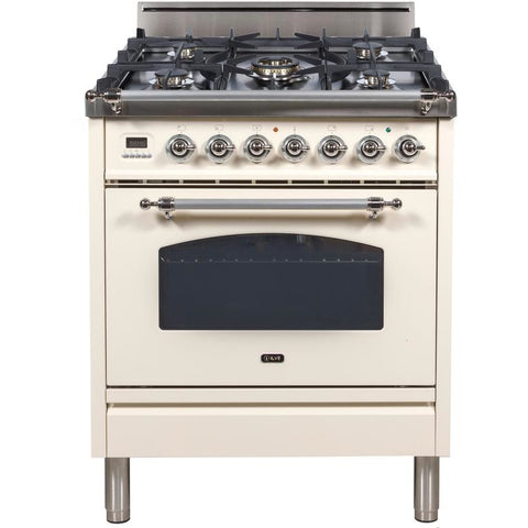 "Image of ILVE 30"" Nostalgie Series Freestanding Gas Range with 5 Burners 3 cu. ft. Oven Capacity Digital Clock and Timer Full Width Warming Drawer 2 Oven Racks and Chrome Trim: Antique White (UPN76DVGGAX) - Shop For Kitchens"