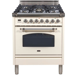 "ILVE 30"" Nostalgie Series Freestanding Gas Range with 5 Burners 3 cu. ft. Oven Capacity Digital Clock and Timer Full Width Warming Drawer 2 Oven Racks and Chrome Trim: Antique White (UPN76DVGGAX) - Shop For Kitchens"