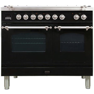 "ILVE 40"" Nostalgie Series Dual Fuel Liquid Propane Range with 5 Sealed Brass Burners 3.55 cu. ft. Total Capacity True Convection Oven Griddle with Chrome Trim in Glossy Black (UPDN100FDMPNXLP) - Shop For Kitchens"
