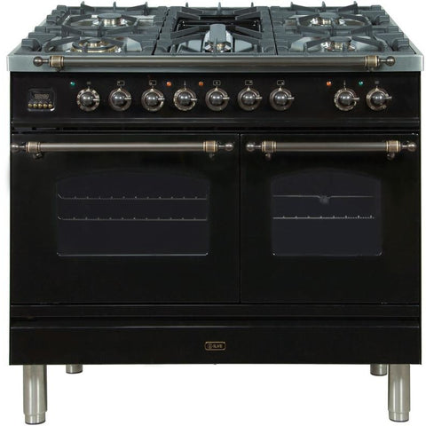 "Image of ILVE 40"" Nostalgie Series Dual Fuel Natural Gas Range with 5 Sealed Brass Burners 3.55 cu. ft. Total Capacity True Convection Oven Griddle with Bronze Trim in Glossy Black (UPDN100FDMPNY) - Shop For Kitchens"