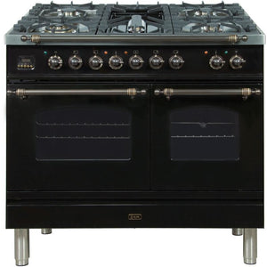 "ILVE 40"" Nostalgie Series Dual Fuel Natural Gas Range with 5 Sealed Brass Burners 3.55 cu. ft. Total Capacity True Convection Oven Griddle with Bronze Trim in Glossy Black (UPDN100FDMPNY) - Shop For Kitchens"