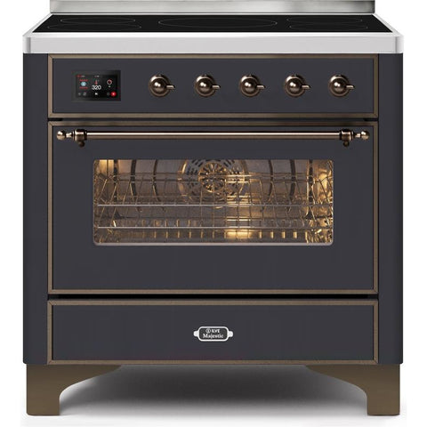 "Image of ILVE 36"" Majestic II Series Induction Range with 5 Elements 3.5 cu. ft. Oven Capacity TFT Oven Control Display Bronze Trim in Matte Graphite (UMI09NS3MGB) - Shop For Kitchens"
