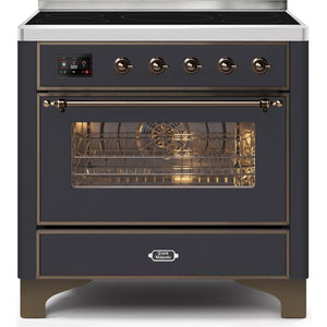 "ILVE 36"" Majestic II Series Induction Range with 5 Elements 3.5 cu. ft. Oven Capacity TFT Oven Control Display Bronze Trim in Matte Graphite (UMI09NS3MGB) - Shop For Kitchens"