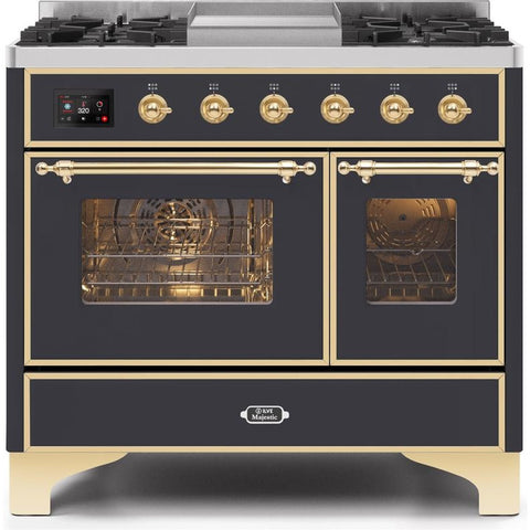 "Image of ILVE 40"" Majestic II Series Dual Fuel Liquid Propane Range with 6 Sealed Burners and Griddle 3.82 cu. ft. Total Oven Capacity TFT Oven Control Display Brass Trim in Matte Graphite (UMD10FDNS3MGGLP) - Shop For Kitchens"