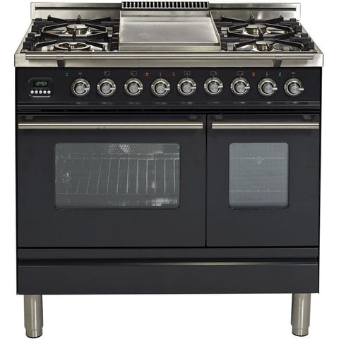 "Image of ILVE 36"" Professional Plus Series Dual Fuel Range with Chrome Trim in Matte Graphite (UPDW90FDMPM) - Shop For Kitchens"