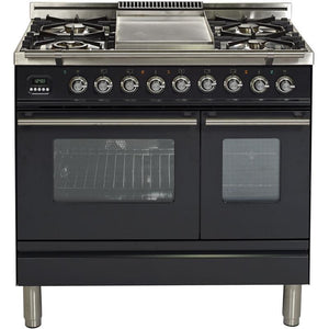 "ILVE 36"" Professional Plus Series Dual Fuel Range with Chrome Trim in Matte Graphite (UPDW90FDMPM) - Shop For Kitchens"