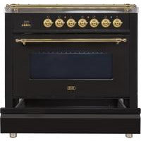 "ILVE 36"" Nostalgie Series Gas Range with 5 Burners Griddle 3.5 cu. ft. Oven Capacity Dishwarming Drawer Digital Clock and Timer Rotisserie  Brass Trim in Gloss Black (UPN90FDVGGNLP) - Shop For Kitchens"