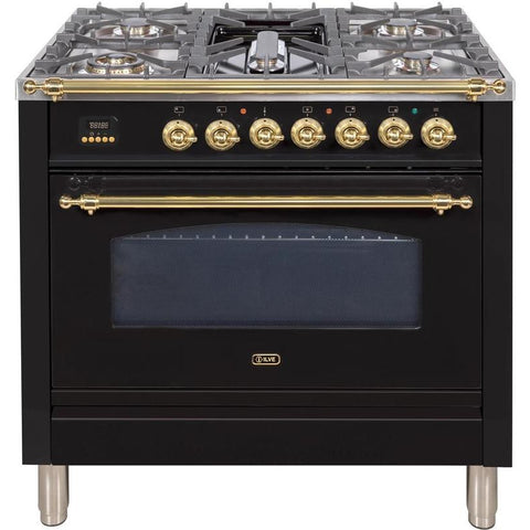 "Image of ILVE 36"" Nostalgie Series Gas Range with 5 Burners Griddle 3.5 cu. ft. Oven Capacity Dishwarming Drawer Digital Clock and Timer Rotisserie  Brass Trim in Gloss Black (UPN90FDVGGNLP) - Shop For Kitchens"