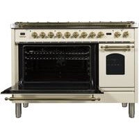 "ILVE 48"" Nostalgie Series Dual Fuel Natural Gas Range with 7 Sealed Burners 5 cu. ft. Total Capacity True Convection Oven Griddle with Brass Trim in Antique White (UPN120FDMPA) - Shop For Kitchens"