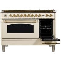 "ILVE 48"" Nostalgie Series Dual Fuel Liquid Propane Range with 7 Sealed Burners 5 cu. ft. Total Capacity True Convection Oven Griddle with Brass Trim in Antique White (UPN120FDMPALP) - Shop For Kitchens"