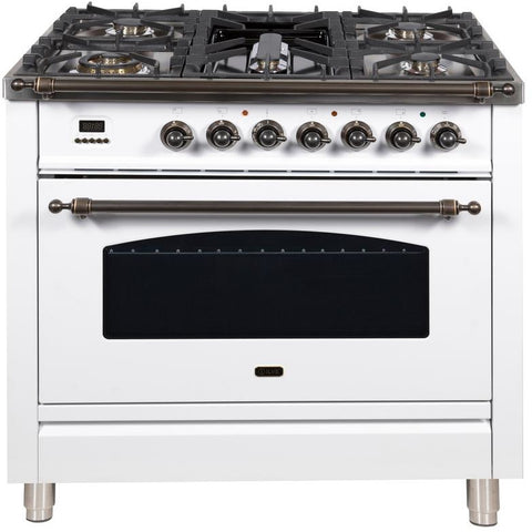 "Image of ILVE 36"" Nostalgie Series Dual Fuel Natural Gas Range with 5 Sealed Brass Burners 3 cu. ft. Capacity True Convection Oven with Bronze Trim in White (UPN90FDMPBY) - Shop For Kitchens"