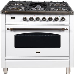 "ILVE 36"" Nostalgie Series Dual Fuel Natural Gas Range with 5 Sealed Brass Burners 3 cu. ft. Capacity True Convection Oven with Bronze Trim in White (UPN90FDMPBY) - Shop For Kitchens"