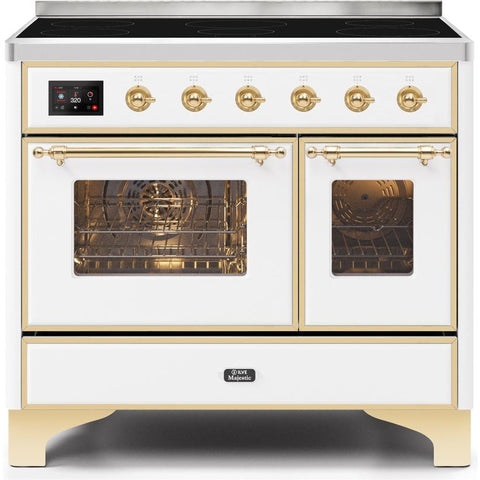 "Image of ILVE 40"" Majestic II Series Induction Range with 6 Elements 3.82 cu. ft. Total Oven Capacity TFT Oven Control Display Brass Trim in White (UMDI10NS3WHG) - Shop For Kitchens"