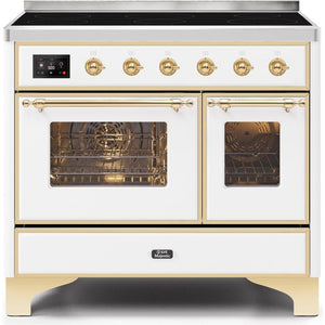 "ILVE 40"" Majestic II Series Induction Range with 6 Elements 3.82 cu. ft. Total Oven Capacity TFT Oven Control Display Brass Trim in White (UMDI10NS3WHG) - Shop For Kitchens"
