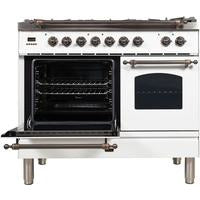 "Image of ILVE 40"" Nostalgie Series Dual Fuel Liquid Propane Range with 5 Sealed Brass Burners 3.55 cu. ft. Total Capacity True Convection Oven Griddle with Bronze Trim in White (UPDN100FDMPBYLP) - Shop For Kitchens"