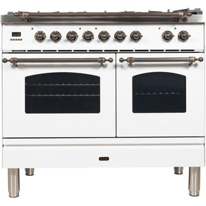 "ILVE 40"" Nostalgie Series Dual Fuel Liquid Propane Range with 5 Sealed Brass Burners 3.55 cu. ft. Total Capacity True Convection Oven Griddle with Bronze Trim in White (UPDN100FDMPBYLP) - Shop For Kitchens"