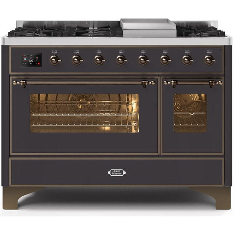 "Image of ILVE 48"" Majestic II Dual Fuel Range with 8 Burners andBronze Trim in Matte Graphite (UM12FDNS3MGB) - Shop For Kitchens"