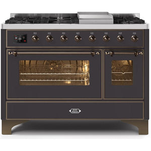 "ILVE 48"" Majestic II Dual Fuel Range with 8 Burners andBronze Trim in Matte Graphite (UM12FDNS3MGB) - Shop For Kitchens"