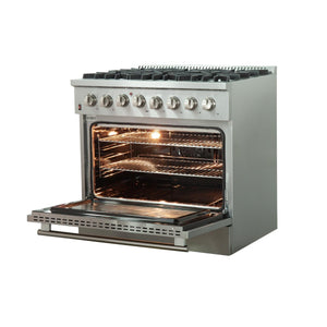 "FORNO 36"" Galiano Dual Fuel Range with 6 Burners and Convection Oven (FFSGS6156-36) - Shop For Kitchens"