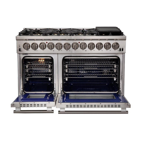 "FORNO 48"" Titanium Professional - Dual Fuel Stainless Steel Range with 8 Burners  (FFSGS6187-48)"