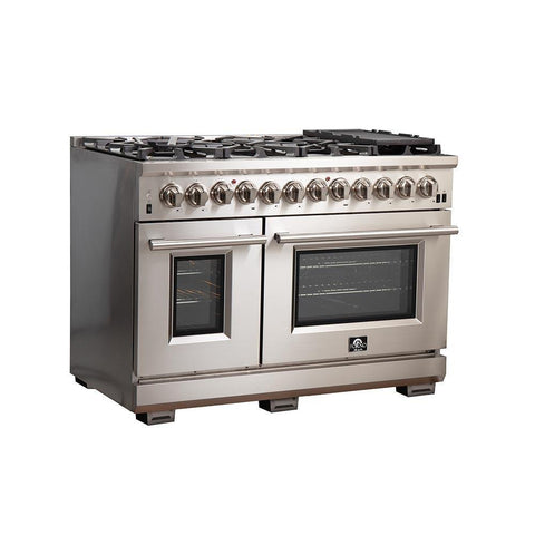 "Image of FORNO 48"" Titanium Professional - Dual Fuel Stainless Steel Range with 8 Burners  (FFSGS6187-48) - Shop For Kitchens"