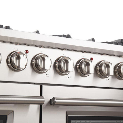 "Image of FORNO 48"" Titanium Professional Gas Range with 8 Burners and Griddle  (FFSGS6260-48) - Shop For Kitchens"