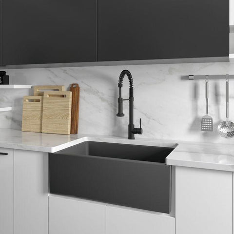 ZLINE Fireclay 30 inch Apron Front Reversible Venice Farmhouse Sink in Charcoal with Bottom Grid (FRC5119-CL-30) - Shop For Kitchens