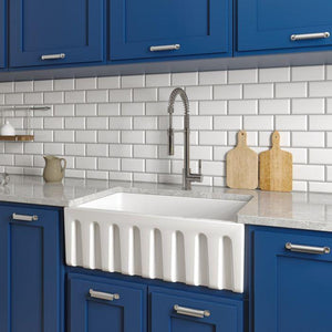ZLINE Fireclay 30 inch Apron Front Reversible Venice Farmhouse Sink in White Gloss with Bottom Grid (FRC5119-WH-30) - Shop For Kitchens