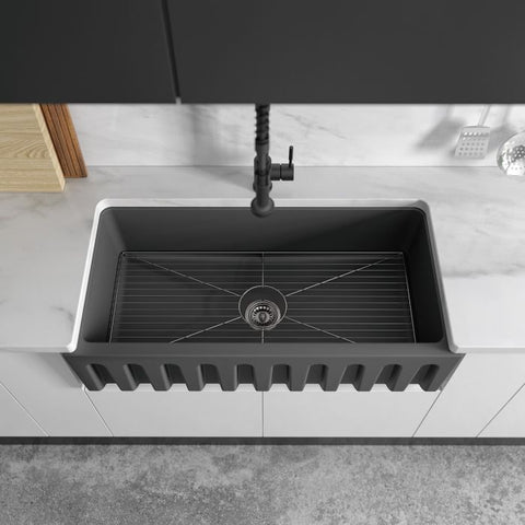 Image of ZLINE Fireclay 36 inch Apron Front Reversible Venice Farmhouse Sink in Charcoal with Bottom Grid (FRC5122-CL-36) - Shop For Kitchens