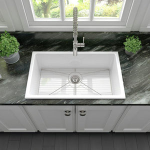 ZLINE 30 inch Rome Dual Mount Fireclay Sink in White Gloss (FRC5124-WH-30) - Shop For Kitchens
