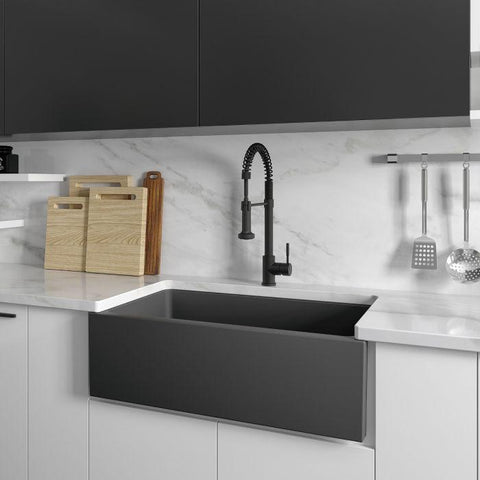 ZLINE Fireclay 33 inch Apron Front Reversible Venice Farmhouse Sink in Charcoal with Bottom Grid (FRC5131-CL-33) - Shop For Kitchens