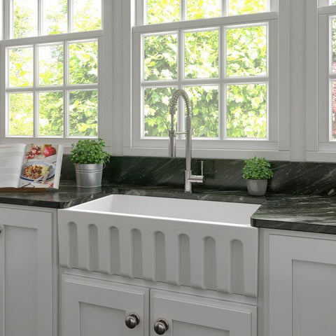 ZLINE Fireclay 33 inch Apron Front Reversible Venice Farmhouse Sink in White Matte with Bottom Grid (FRC5131-WM-33) - Shop For Kitchens